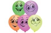 """Воздушные шары, М10/25см, Поиск """"Улыбки"""", флуоресцентные, европодвес, стриплента"""