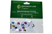 """Материал декоративный Greenwich Line """"Глазки"""", с цветными ресничками, 10мм, 20шт."""