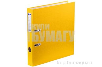 Папка-регистратор 50мм, желтая,  OfficeSpace, бумвинил, с карманом на корешке,
