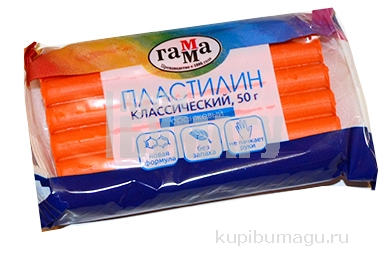 """Пластилин Гамма """"Классический"""" оранжевый, 50г"""