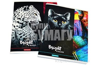 """Тетрадь 48л., А5, клетка ArtSpace """"Животные. Bright&black"""", глянцевый УФ-лак"""