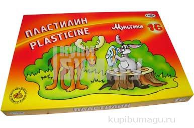 """Пластилин классический ГАММА """"Мультики"""", 16 цв., 320г, со стеком, картонная упаковка, 280027/281027"""