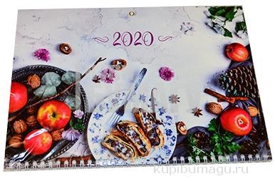 "2020 Календарь квартальный 3 бл. на 3 гр. OfficeSpace Standard ""Breakfast"", с бегунком, 2020"