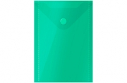 Папка-конверт на кнопке А6 (105*148мм), 150мкм, зеленая OfficeSpace,