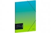 """Папка для тетрадей на резинке Berlingo """"Radiance"""" А5+, 600мкм, голубой/зеленый градиент, с рисунком"""