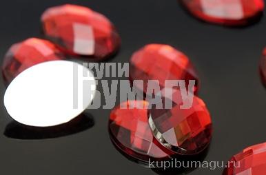 Стразы плоские овал, 13*18 мм,  (набор 10шт), цвет темно-красный