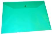 Папка-конверт на кнопке А4, зеленая,  0, 15 мкм