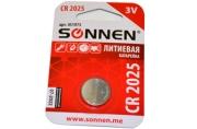 Батарейка SONNEN, CR2025 (таблетка), d=20мм, h=2, 5мм, ЛИТИЕВАЯ, 1 шт., в блистере, 3В, 451973