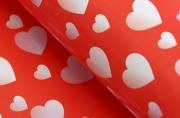 "Бумага упаковочная ""Сердца на красном"", 50 х 70 см"