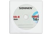 Диск DVD-R SONNEN, 4, 7 Gb, 16x, бумажный конверт (1 штука), 512576