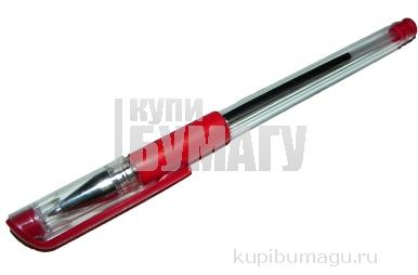 Ручка шар. YIWU 0,5 мм красная, метал. наконеч., резин. грип, прозрач. корпус
