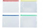 Папка-конверт на молнии, формат А5, прозрачная, 120 мкр, МИКС