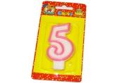"""Свечи для торта с розовой окантовкой """"Цифра 5"""" е/п МИЛЕНД С-1189 [4665295511899] (577342)"""