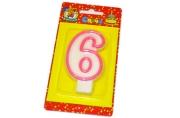 """Свечи для торта с розовой окантовкой """"Цифра 6"""" е/п МИЛЕНД С-1190 [4665295511905] (577343)"""