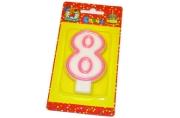 """Свечи для торта с розовой окантовкой """"Цифра 8"""" е/п МИЛЕНД С-1192 [4665295511929] (577345)"""