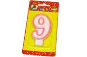 """Свечи для торта с розовой окантовкой """"Цифра 9"""" е/п МИЛЕНД С-1193 [4665295511936] (577346)"""
