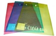 Папка-конверт с кнопкой MY CLEAR BAG, прозрачная, ф. A4, вертикальная, ассорти