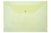 Папка-конверт на кнопке, формат А4, 80 мкр, «Клетка», тонированная, жёлтая