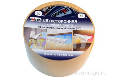 Клейкая лента двухсторонняя 50мм х 10м UNIBOB основа-полипропилен, упак. с европодвесом