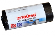 Мешки д/мусора 20л, черные, в рулоне 30шт, ПНД, 8 мкм, 45х50см (+5%), стандарт, ЛАЙМА, 601376