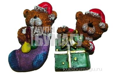 """Магнит-полистоун LE21828A-D """"Мишка с подарками"""", 3, 5*6, 5см, ассорти /12 /0 /288"""