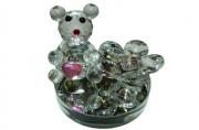 "Сувенир из стекла 0156 ""Мишка с алмазами"", 6 см /1 /0 /120"