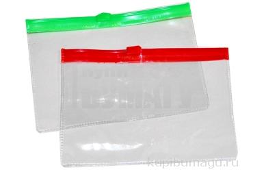 Папка-конверт на молнии, формат А6, 120 мкр, прозрачная молния, 13х9 см, МИКС