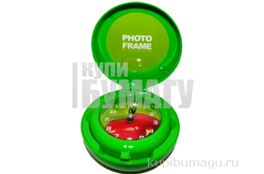 """Часы настольные 6710 """"Яблоко"""" с фоторамкой, на бат, 8*8 см, пластик /1 /0 /100"""