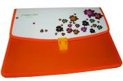 """Папка-портфель 2855 """"Цветы"""", 2 отд, 34х25 см, пластик/115мк J. Otten /1 /0 /72"""