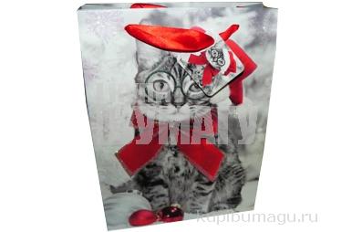 """Пакет подар. бумага 5159-1 """"Новогодние коты"""", 18х28х8см, асс /12 /0 /480 /0"""