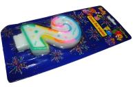 Свеча для торта нумерологическая 2, разноцветная, 7см,  (ACTION!)