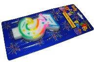 Свеча для торта нумерологическая 3, разноцветная, 7см,  (ACTION!)