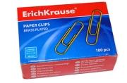 Скрепки 28мм, Erich Krause, 100шт., омедненные, карт. упак.