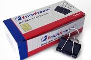 Зажимы для бумаг 32 мм, ERICH KRAUSE,  на 145 листов, черные, картонная коробка, 2983