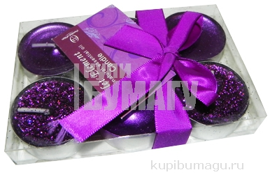 набор 6 свечей-картриджей ВИОЛЕТТА фиолетовый