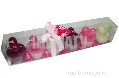 набор 6 свечей-картриджей СЕРДЕЧКИ 4см разноцветный