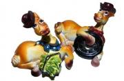 сувенир КОНЬ КОВБОЯ на отдыхе 6см разноцветный