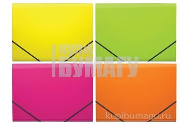 """Папка на резинках 6 отделений А4, ERICH KRAUSE """"Glance Neon"""" до 300 листов, 600 мкм, ассорти, 43122"""