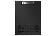 "Папка-планшет ERICH KRAUSE ""Megapolis"", А4 (320х227мм), с прижим. и крышкой, пластик, черн, 1, 3мм, 46036"
