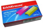 Скобы для степлера №10 Erich Krause, цветные, 1000шт.
