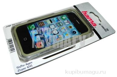 Рамка защитная Edge Protector для Apple iPhone 4/4S, сохраняет доступ ко всем кнопкам, пластик, серебристый, Hama   [ObG]