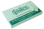 Бумага для заметок, с липким слоем, зеленая, разм. 127х75 мм, 100 л.,  (INDEX)