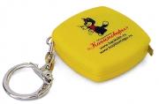 Брелок-рулетка, пластик, желтый с логотипом