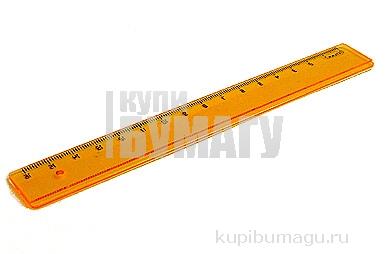 Линейка пластик 16см флю прозр.  (4 цв. ), Стамм