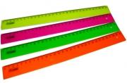 Линейка цветная, флюоресцентная, 4 цв., 30 см,  (СТАММ)
