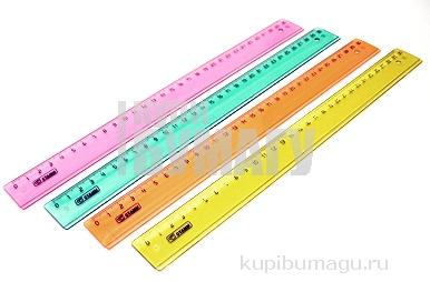 Линейка цветная, флюоресцентная, прозрачная, 4 цв., 30 см,  (СТАММ)