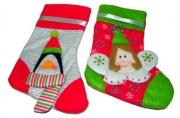 Носок для подарков, 1 шт, 12*20 см, 4 вида, полиэстер, в пакете,  (WINTER WINGS)