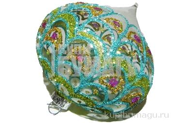 Украшение елочное шар ЛУКОВИЦА ПАВЛИН, ажурный, прозрачный, 1 шт., 8 см, стекло,  (WINTER WINGS)