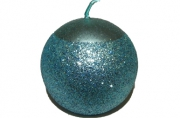 Свеча ШАР с блестящ. крошкой, 1 шт, 6 см, в пакете, голубой,  (WINTER WINGS)