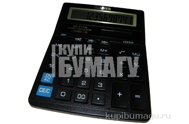 Калькулятор (пл., 12 разрд., 2 пит., 2 пам., чер. 157 x 200 x 32 мм) (SDC-888TII)